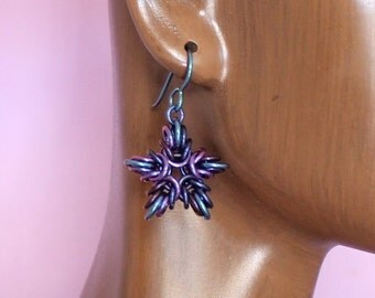 Niobium Chainmaille Five Point Star Earrings