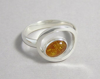 Amber and Sterling Silver Orbit Ring