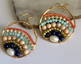 Hoop Earrings- Semiprecious Stone Earrings - Claribella Collection - AdaraPenina - Boho Jewelry