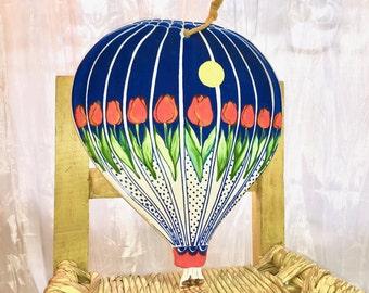 Vintage Trivet Wall Hanging Hot Air Balloon. Boho Kitchen Wall Decor. Ceramic. Tulips Under Yellow Moon. Colorful.