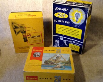 Vintage Photography Products Boxes - Kodak Brownie, Kodak Flasholder and Kalart 400 Flash Unit - Empty Display Boxes Only -