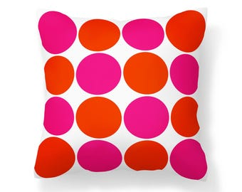 Orange and Pink Polka Dot Pillow Cover - Orange Pillow - Pink Pillow - 16x16 inch pillow  - 18x18 inch pillow - 20x20 inch pillow