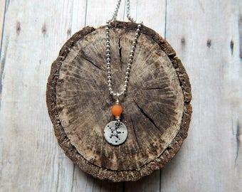 Starfish necklace, silver charm necklace, orange gemstone