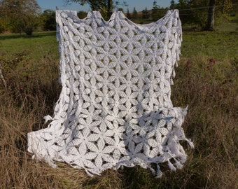 Vintage French cotton hand made bedspread, coverlet .