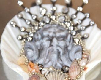 Mixed media assemblage ~ original handmade art ~ shell art ~ altered art doll ~ jeweled shell ~ assemblage art~ shell assemblage ~ mythos