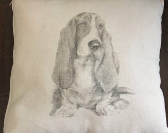 Bassett Hound Pillow-16 by 16 fiber filled pillow-Keep it or give as a gift! Personalization is free. Charcoal-Pencil style