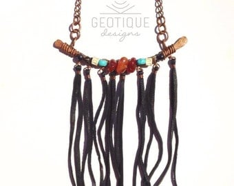 Hammered Copper Statement Necklace with Carnelian,Bone,Turquoise and Agate Beads and Black Leather Tassels