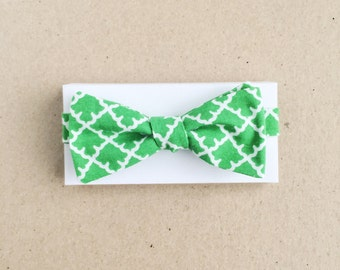 Green Bow Tie with Natural Tile Motif