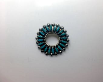 Sterling Turquoise Zuni Brooch, Zuni Needlepoint Pin, Native American Pendant, Vintage Old Pawn Jewelry