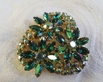 Vintage Rhinestone Flower Brooch, Green Navette and Aurora Borealis Stones, Sparkle Galore!