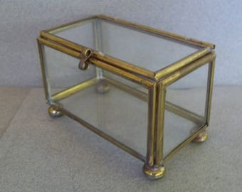 Vintage Glass and Brass Display Box - Mid Century Glass Box - 1960s Glass and Brass Jewelry Box