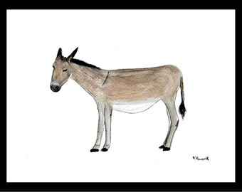SALE Donkey art Donkey painting Donkey watercolour Donkey illustration Animal art nursery art donkey artwork UK shop wall art 12 x 9 inches
