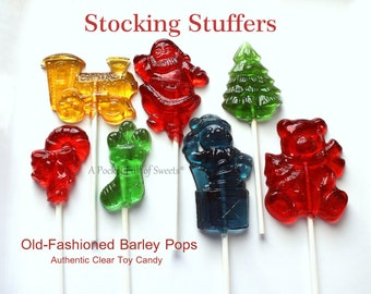Edible Gift, Stocking Stuffer, Clear Toy Candy, Christmas Party, Favors, Christmas Gift, For Kids, For Mom, For Him, 8 Barley Sugar Pops