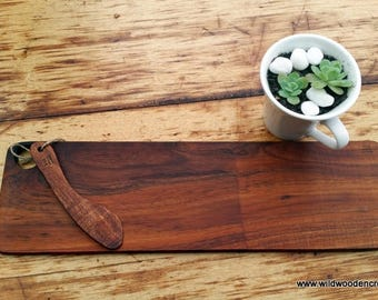 Trendy Blackwood serving platter with spreader, cutting board, kitchen board