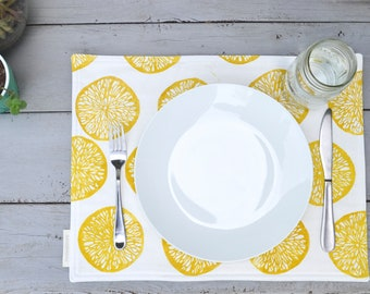 Placemat, Cotton Placemat, Block print placemat, Lemonslice Placemat, Table Decoration, Spring Placemat, Gift for Her