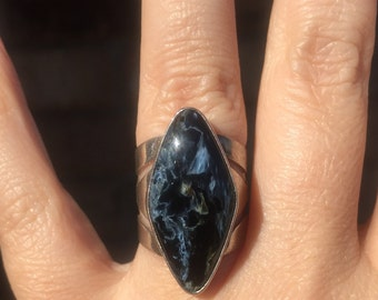 Jay King DTR Sterling Silver and  Pietersite Ring Size 6 Gorgeous Blues and Blacks!