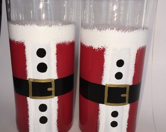 DBEG Hand Painted Santa Coat glasses