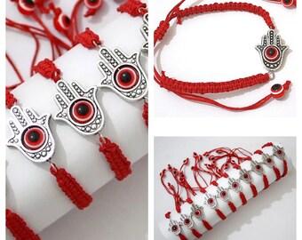 Hamsa Bracelet Braided Red Evil Eye Protection