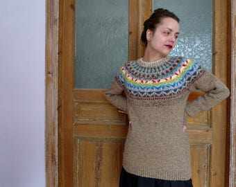 Handmade Icelandic style sweater with Latvian pattern