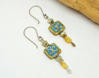 Blue Yellow Boho Chic Earrings - Holiday Gift Ideas - Blue Earrings - Boho Chic Earrings