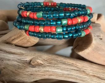 Teal & orange memory wire bracelet