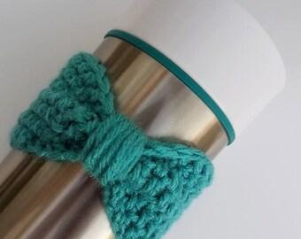 Cozy, Crochet Bow Cup Cozy, Bow Cozy, Crochet Cozy, Mug Cozy, Thermos Cozy, Coffee Cozy, Tea Cozy, Drink Cozy, Crochet Cozie, Bow Cozie