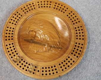 3D Wood Eagle Travel Cribbage Board Made of Maple Wood, Metal Pegs
