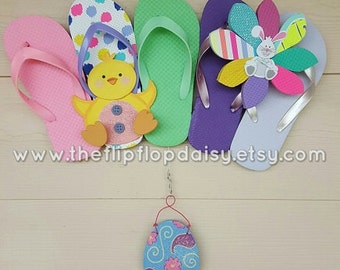 Beautiful Easter Flip Flop Row Wreath Lil Chick Beach Door Decor