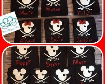 Family Disney shirts, Pirate Mickey and Minnie mouse shirts, Pirate Night family vacation shirts, family pirate shirts