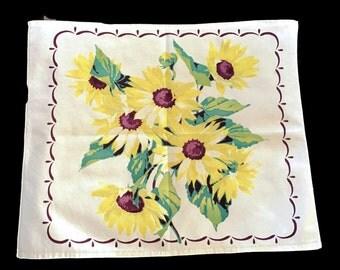 Vintage Kitchen Towel Cotton with Big Yellow Sunflowers Cottage Chic Kitchen Decor Repurpose Tea Towel Table Decor Farmhouse Kitchen