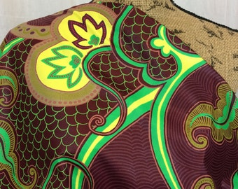 African Wax Print Fabric--Ankara Print--Genuine Vlisco Java Print--Maroon w/ Green, Yellow Vines & Flowers--African Fabric by the HALF YARD