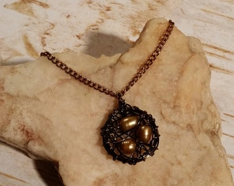 """18"""" Antique Brass, Copper, and Gold Fresh Water Pearl Wire Wrapped Bird Nest Necklace - MN-024"""