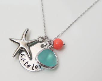 Starfish Necklace. Ocean Blue & Coral Necklace. Beach Wedding. Personalized Custom. Hand Stamped Jewelry.  Bridesmaid Gift.