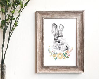 Bunny Rabbit Floral Print