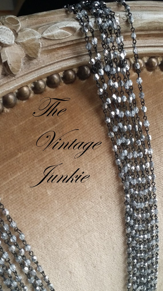 The Vintage Junkie...Dainty Silvered Crystal Beaded Necklaces