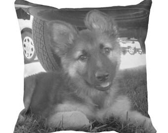 German Shepherd Puppy Pillow, Dog Throw Pillow, Alsatian Dog Pillow, Photo Pillow Case, Cute Pillowcase, Nursery Decor, 16X16 pillow