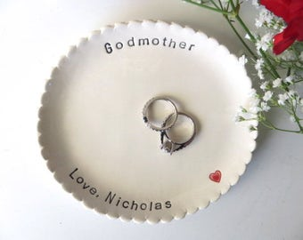 Godmother Gift, Large scalloped ring dish, Oval wedding ring holder, Personalized keepsake, Nana, Aunt, Sister, Gift Boxed, Made to order