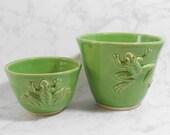 Pottery bowl set - Ceramic bowl set - green frog bowl set - serving bowl set - serving dish set - funny bowl set B102