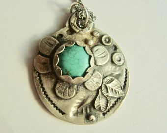 new turquoise and sterling flower pendant