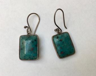 vintage rectangle earrings, blue green stones