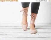 BIRTHDAY SALE Blush pink leather ballerina shoes, pink ballerina shoes, handmade shoes, ballerina shoes