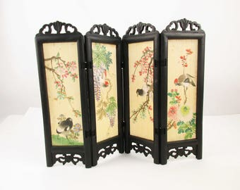 "A Four Panel Wood Screen With Silk Inserts - Black Wood Frame - Hinged With Fabric Straps - 9 1/2"" Tall Mini Screen - Painted Birds on Silk"