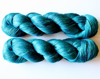 Atelier Avalon Lace Hand Dyed Mulberry Silk Lace Yarn | Teal