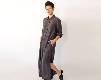 Gray Striped Dress, Long Button Down Dress, Gray Dress, Boho Chic Dress, Minimalist Clothing, Modern Maxi Dress, Boho Maxi Dress, Bohemian