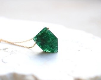 Green Aventurine Necklace, Semi Precious Gemstone Pendant, 14K Gold Fill or Sterling Silver
