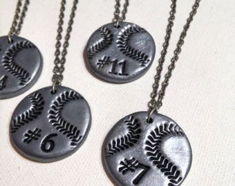 12 Baseball Necklaces - Personalized with Player's Number - with Team Discount, Personalization, Spiritwear, Baseball Moms, Baseball Gifts