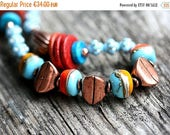 50%off SALE Bright Boho necklace/ Tribal Necklace/Turquoise, Orange, Yellow, Copper/ Necklace on chain/ Boho style Necklace/ Boho jewelry by