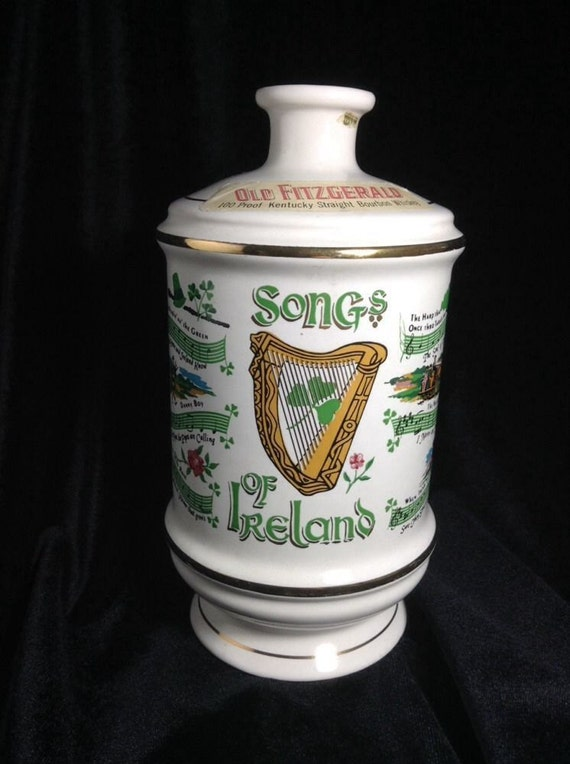Irish Pub Decor, Old Fitzgerald Vintage Porcelain Decantur Songs of Ireland - Liquor Bottle