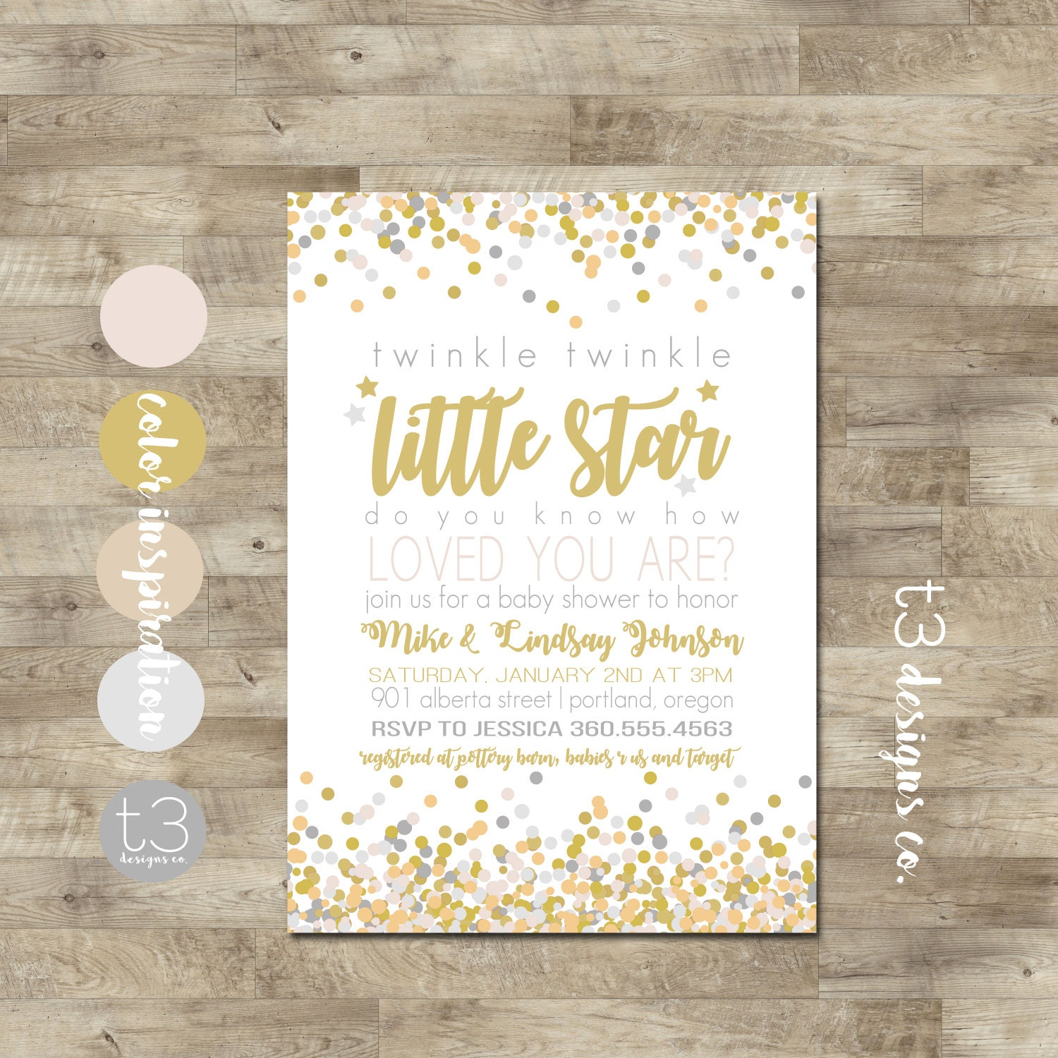 Twinkle Twinkle Little Star Baby Shower Invitation, Gender Neutral ...
