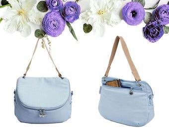 Placid Blue Crossbody Messenger Shoulder Canvas Bag